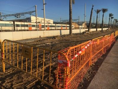 Obres al costat de les vies del tren a Mataró. Foto: Ajuntament