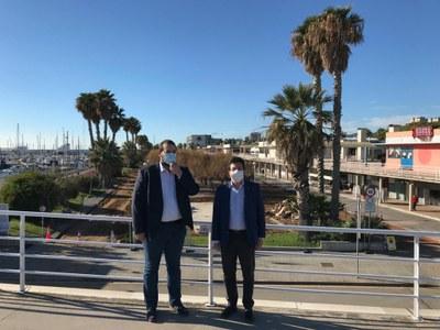 L'alcalde, David Bote, i el secretari d'Infraestructures i Mobilitat i president del Port de Mataró, Isidre Gavín. Foto: Ajuntament
