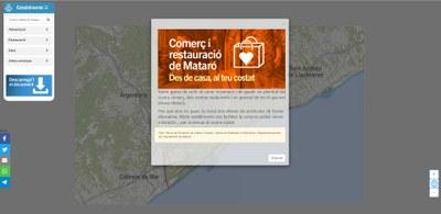 Captura de pantalla del portal Comerç i restauració de Mataró