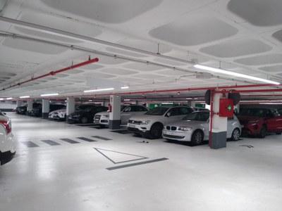 Interior de l'aparcament de plaça de les Tereses. Foto: PUMSA